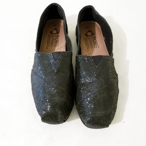 Bobs Black Sparkly Slip-Ons Size 6